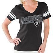 Touch by Alyssa Milano Women's Oakland Raiders Foil V-Neck Black T-Shirt