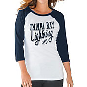 G-III for Her Women's Tampa Bay Lightning Hang Time Three Quarter Sleeve Vintage Navy T-Shirt