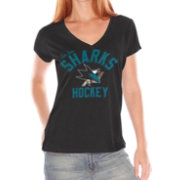 G-III For Her Women's San Jose Sharks Fair Catch V-Neck T-Shirt