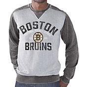 G-III Men's Boston Bruins Zone Blitz Grey Burnout Fleece Sweatshirt