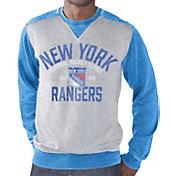 G-III Men's New York Rangers Zone Blitz Grey Burnout Fleece Sweatshirt