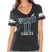 Touch by Alyssa Milano Women's Philadelphia Eagles Carson Wentz #11 V-Neck Black T-Shirt