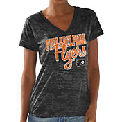 G-III For Her Women's Philadelphia Flyers All Star Burnout Black V-Neck T-Shirt