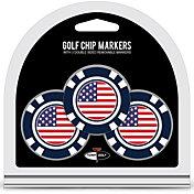 Team Golf USA Flag Poker Chip Ball Markers - 3-Pack