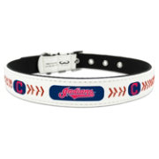 Cleveland Indians Classic Leather Baseball Dog Collar