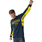 Hands High Men's Michigan Wolverines Blue Gridiron Thermal Long Sleeve Shirt
