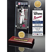 Highland Mint Eddie Mathews Atlanta Braves Hall of Fame Ticket and Bronze Coin Acrylic Desktop Display
