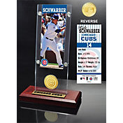 Highland Mint Chicago Cubs Kyle Schwarber Ticket & Bronze Coin Acrylic Desk Top