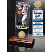 Highland Mint Ryne Sandberg Chicago Cubs Hall of Fame Ticket and Bronze Coin Acrylic Desktop Display