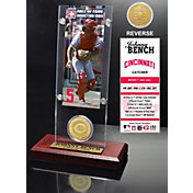 Highland Mint Johnny Bench Cincinnati Reds Hall of Fame Ticket and Bronze Coin Acrylic Desktop Display