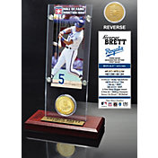 Highland Mint George Brett Kansas City Royals Hall of Fame Ticket and Bronze Coin Acrylic Desktop Display
