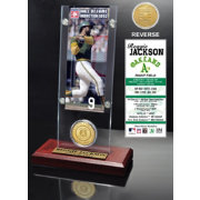 Highland Mint Reggie Jackson Oakland Athletics Hall of Fame Ticket and Bronze Coin Acrylic Desktop Display