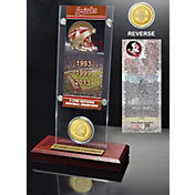 Highland Mint Florida State Seminoles 3-Time National Champions Ticket and Bronze Coin Desktop Display