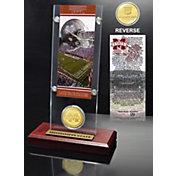 Highland Mint Mississippi State Bulldogs Ticket and Bronze Coin Desktop Display