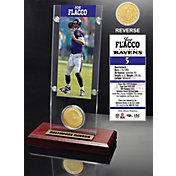 The Highland Mint Baltimore Ravens Joe Flacco Ticket and Bronze Coin Desktop Display