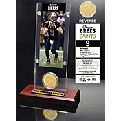 The Highland Mint New Orleans Saints Drew Brees Ticket and Bronze Coin Desktop Display