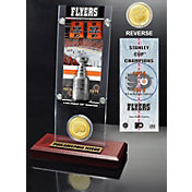 Highland Mint Philadelphia Flyers 2x Stanley Cup Champions Ticket and Bronze Coin Acrylic Display