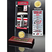 Highland Mint Carolina Hurricanes 2006 Stanley Cup Champions Ticket and Bronze Coin Acrylic Display