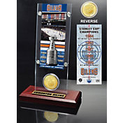 Highland Mint Edmonton Oilers 5x Stanley Cup Champions Ticket and Bronze Coin Acrylic Display