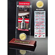 Highland Mint Detroit Red Wings 11x Stanley Cup Champions Ticket and Bronze Coin Acrylic Display
