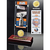 Highland Mint New York Islanders 4x Stanley Cup Champions Ticket and Bronze Coin Acrylic Display