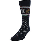 Yaktrax Men's Holiday Moose Cabin Socks