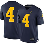Jordan Men's Michigan Wolverines #4 Blue Game Football Jersey