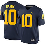 Jordan Men's Tom Brady Michigan Wolverines #10 Blue Replica College Alumni Jersey