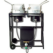 King Kooker Two Burner Outdoor Cooking Cart with Pots and Baskets