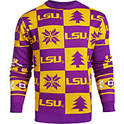 Klew Men's LSU Tigers Purple Ugly Sweater