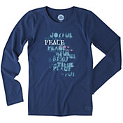 Life is Good Women's Peace Stencil Crusher Long Sleeve T-Shirt