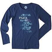 Life is Good Women's Peace Stencil Crusher Long Sleeve T-Shirt