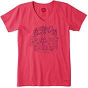 Life is Good Women's Lucky Dog Crusher Vee T-Shirt