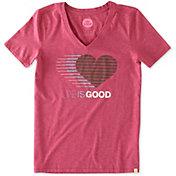 Life is Good Women's Heart Stripe Cool Vee T-Shirt