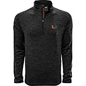 Levelwear Men's Miami Hurricanes Grey Armour Quarter-Zip Shirt
