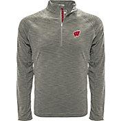 Levelwear Men's Wisconsin Badgers Grey Mobility Long Sleeve Quarter-Zip Shirt