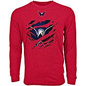 Levelwear Men's Washington Capitals Ripped Logo Red Long Sleeve T-Shirt