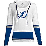 Levelwear Women's Tampa Bay Lightning Laced Up Lucy White Pullover Crewneck Hoodie T-Shirt
