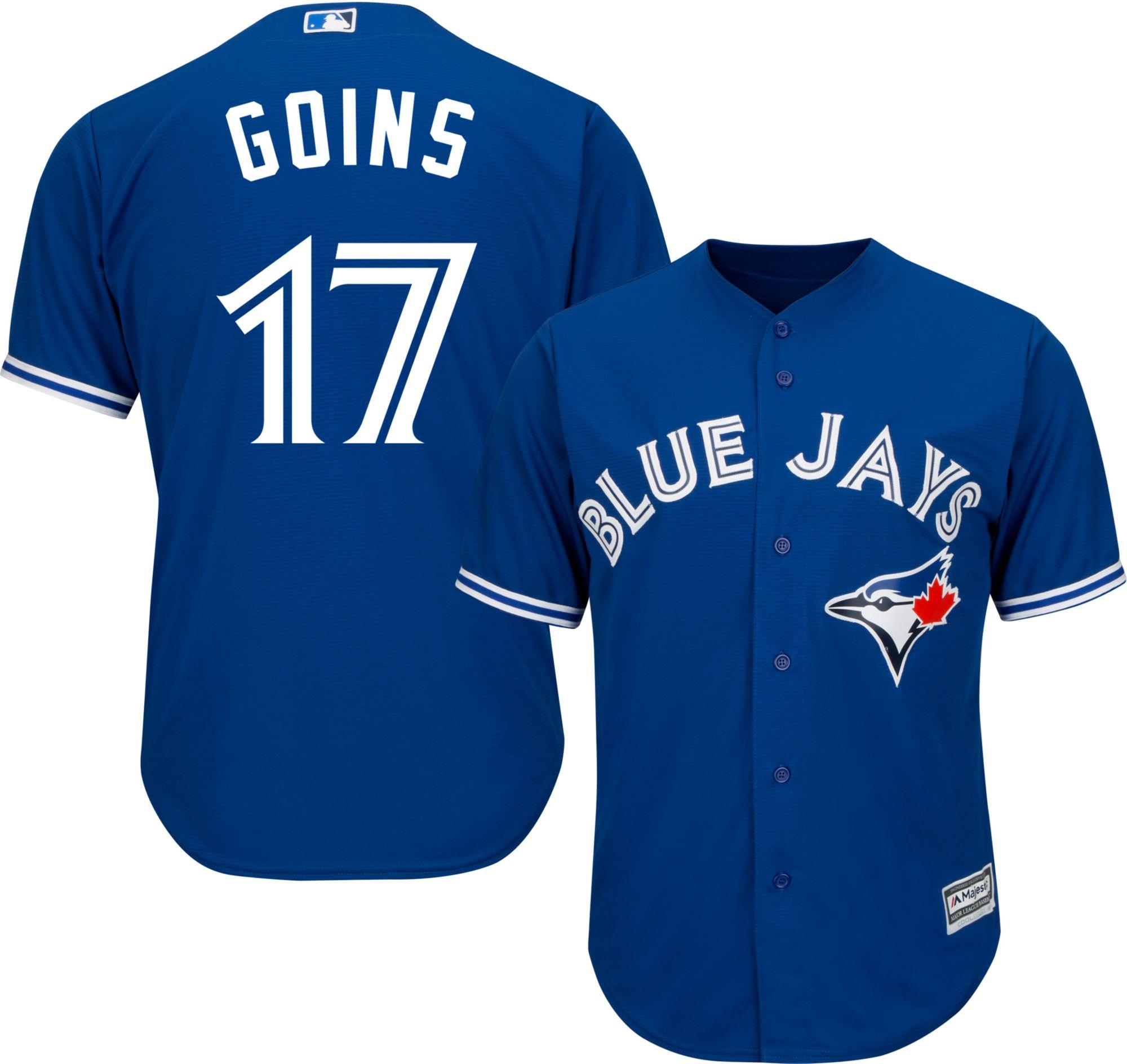 b374a31508e Majestic Mens Replica Toronto Blue Jays Ryan Goins 17 Cool Base Alternate  Royal Jersey ...