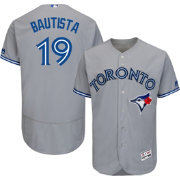 Majestic Men's Authentic Toronto Blue Jays Jose Bautista #19 Road Grey Flex Base On-Field Jersey