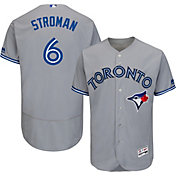 Majestic Men's Authentic Toronto Blue Jays Marcus Stroman #6 Road Grey Flex Base On-Field Jersey
