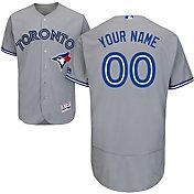 Majestic Men's Custom Authentic Toronto Blue Jays Flex Base Road Grey On-Field Jersey