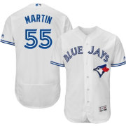 Majestic Men's Authentic Toronto Blue Jays Russell Martin #55 Home White Flex Base On-Field Jersey