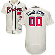 Majestic Men's Custom Authentic Atlanta Braves Flex Base Alternate Ivory On-Field Jersey