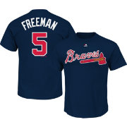Majestic Men's Atlanta Braves Freddie Freeman #5 Navy T-Shirt