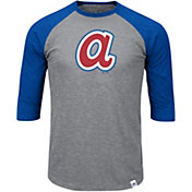 Majestic Men's Atlanta Braves Cooperstown Grey/Navy Raglan Three-Quarter Sleeve Shirt