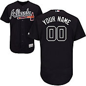 Majestic Men's Custom Authentic Atlanta Braves Flex Base Alternate Navy On-Field Jersey