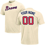 Majestic Men's Custom Atlanta Braves Ivory T-Shirt