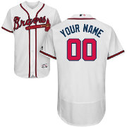 Majestic Men's Custom Authentic Atlanta Braves Flex Base Home White On-Field Jersey