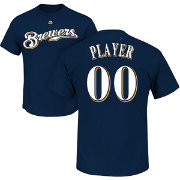 Majestic Men's Full Roster Milwaukee Brewers Navy T-Shirt